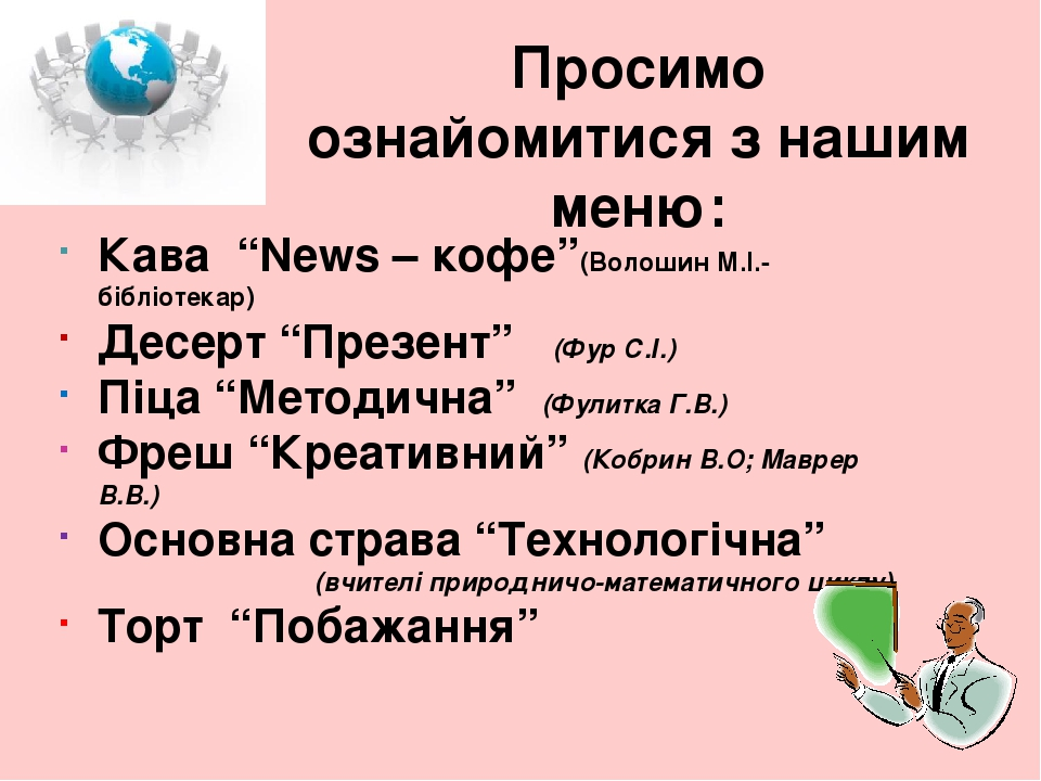 """Просимо ознайомитися з нашим меню: Кава """"News – кофе""""(Волошин М.І.- бібліотекар) Десерт """"Презент"""" (Фур С.І.) Піца """"Методична"""" (Фулитка Г.В.) Фреш """"..."""