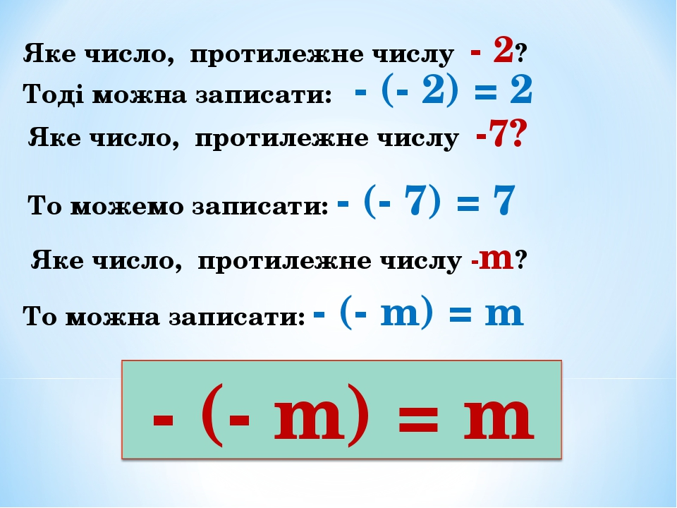 Тоді можна записати: - (- 2) = 2 Яке число, протилежне числу - 2? Яке число, протилежне числу -7? То можемо записати: - (- 7) = 7 Яке число, протил...