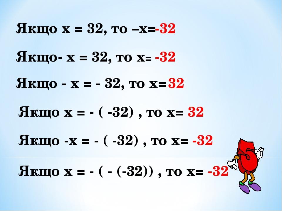 Якщо х = 32, то –х= -32 Якщо- х = 32, то х= -32 Якщо - х = - 32, то х= 32 Якщо х = - ( -32) , то х= 32 Якщо -х = - ( -32) , то х= -32 Якщо х = - ( ...