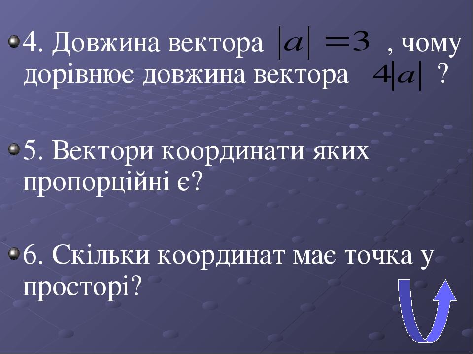 4. Довжина вектора , чому дорівнює довжина вектора ? 5. Вектори координати яких пропорційні є? 6. Скільки координат має точка у просторі?
