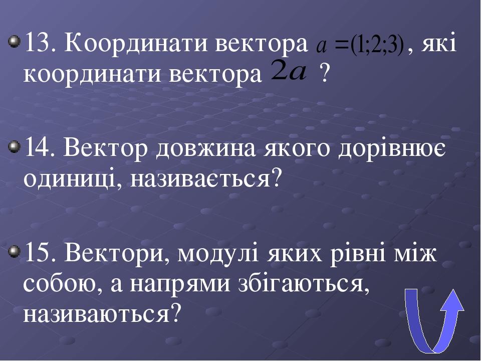 13. Координати вектора , які координати вектора ? 14. Вектор довжина якого дорівнює одиниці, називається? 15. Вектори, модулі яких рівні між собою,...