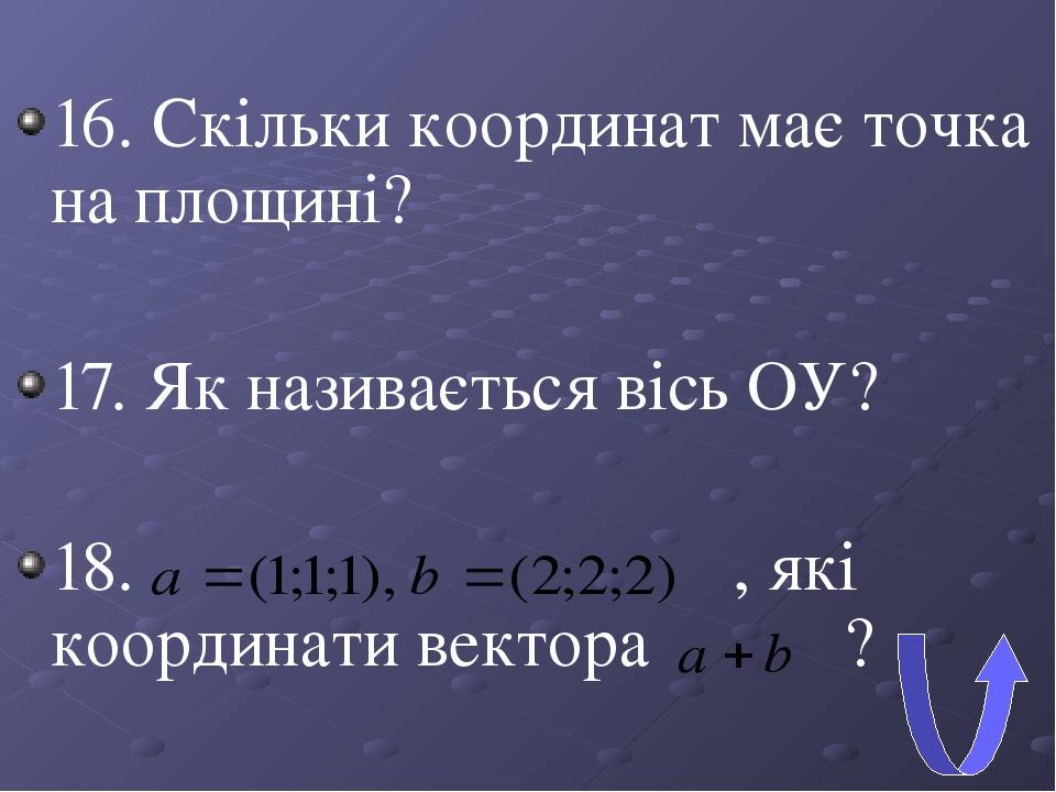 16. Скільки координат має точка на площині? 17. Як називається вісь ОУ? 18. , які координати вектора ?