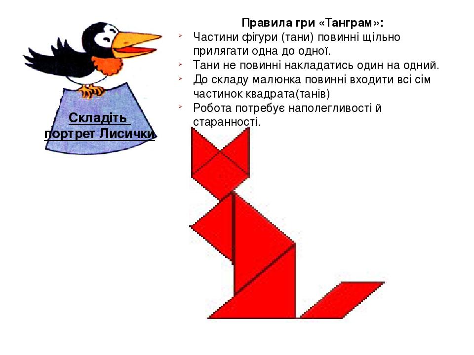 Складіть портрет Лисички Правила гри «Танграм»: Частини фігури (тани) повинні щільно прилягати одна до одної. Тани не повинні накладатись один на о...