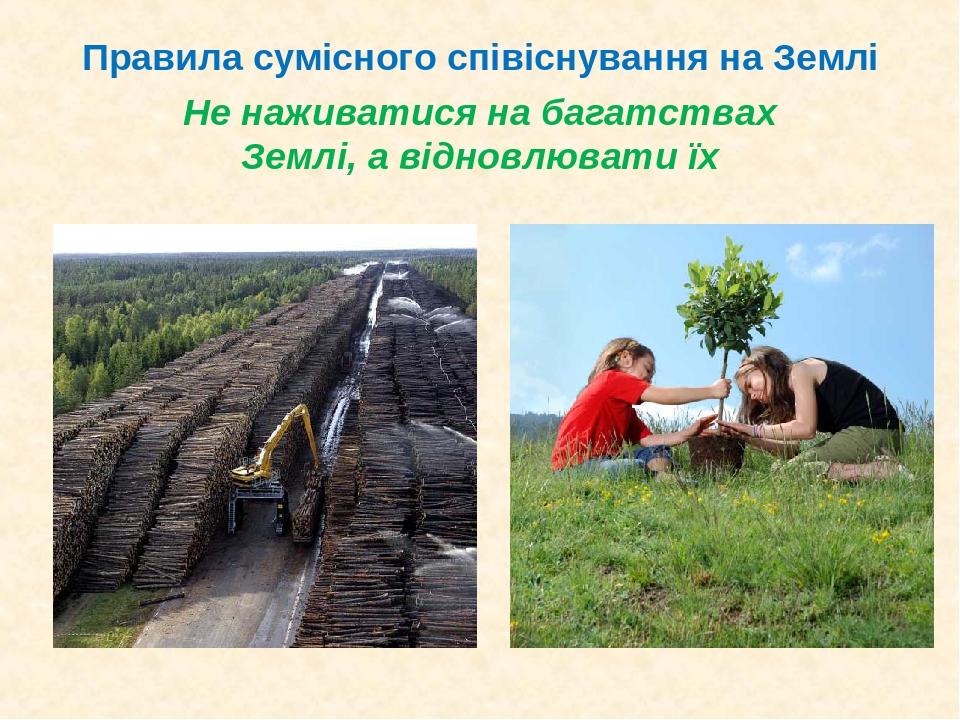 Не наживатися на багатствах Землі, а відновлювати їх Правила сумісного співіснування на Землі