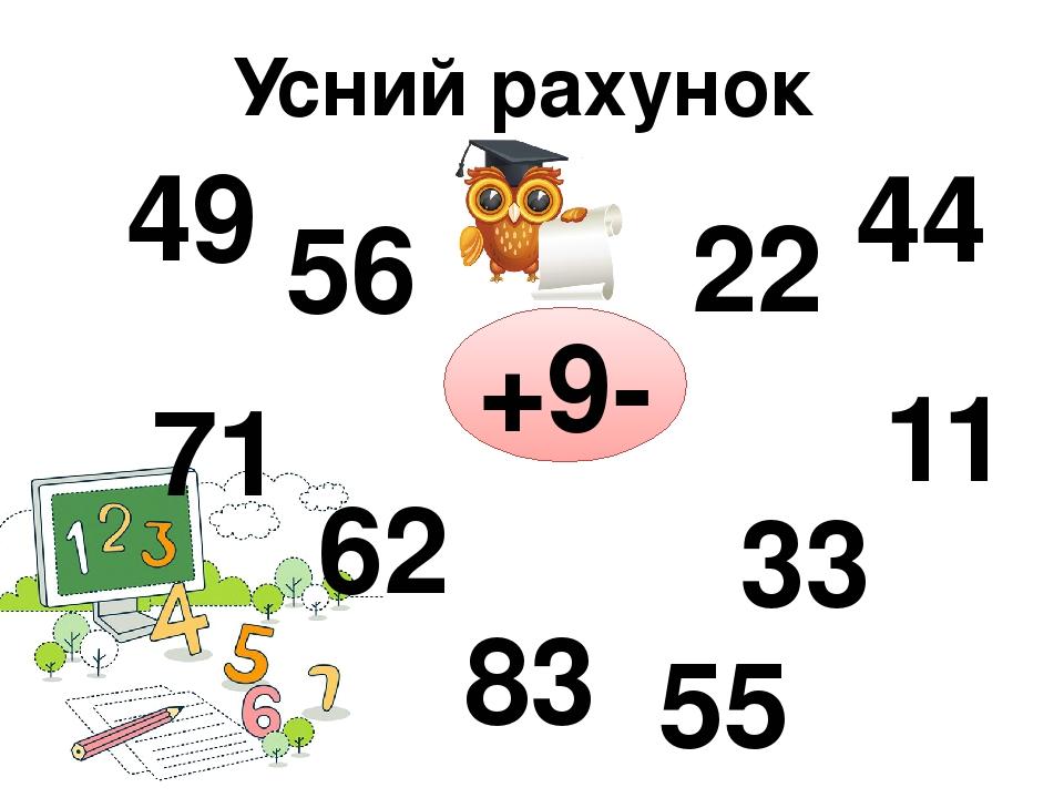 Усний рахунок +9- 49 56 71 62 83 22 44 11 33 55