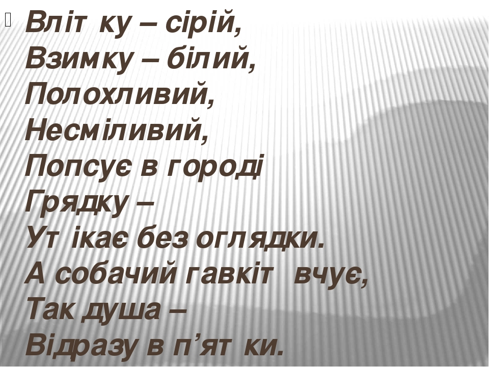 Влітку – сірій, Взимку – білий, Полохливий, Несміливий, Попсує в городі Грядку – Утікає без оглядки. А собачий гавкіт вчує, Так душа – Відразу в п'...
