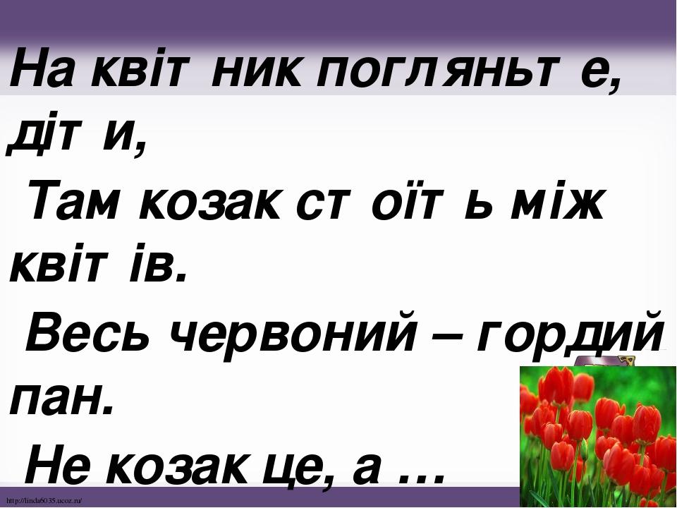На квітник погляньте, діти, Там козак стоїть між квітів. Весь червоний – гордий пан. Не козак це, а … http://linda6035.ucoz.ru/