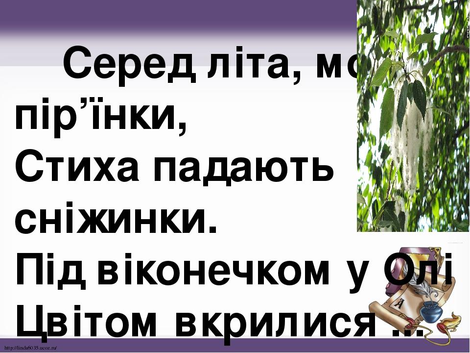 Серед літа, мов пір'їнки, Стиха падають сніжинки. Під віконечком у Олі Цвітом вкрилися ... http://linda6035.ucoz.ru/