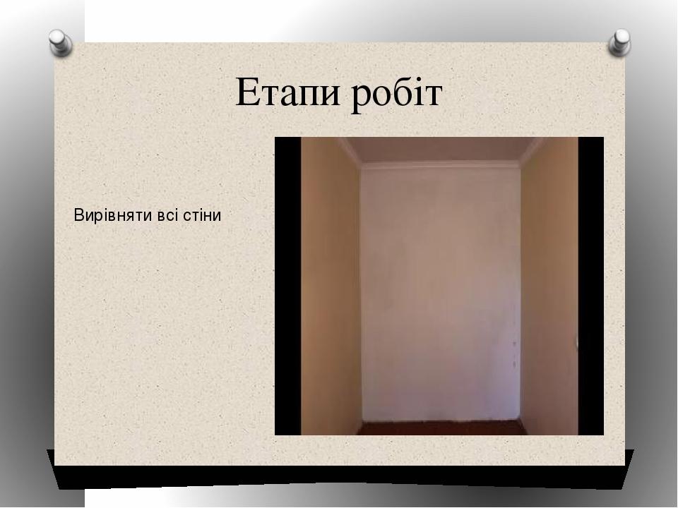 Етапи робіт Вирівняти всі стіни Образец заголовка Образец текста Второй уровень Третий уровень Четвертый уровень Пятый уровень