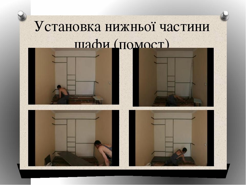 Установка нижньої частини шафи (помост) Образец заголовка Образец текста Второй уровень Третий уровень Четвертый уровень Пятый уровень