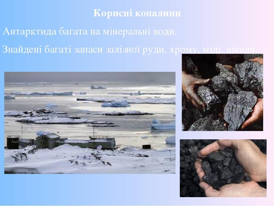 Корисні копалини Антарктида багата на мінеральні води. Знайдені багаті запаси залізної руди, хрому, міді, нікеля.