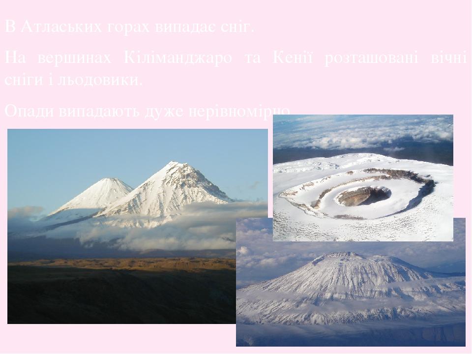 В Атлаських горах випадає сніг. На вершинах Кіліманджаро та Кенії розташовані вічні сніги і льодовики. Опади випадають дуже нерівномірно.