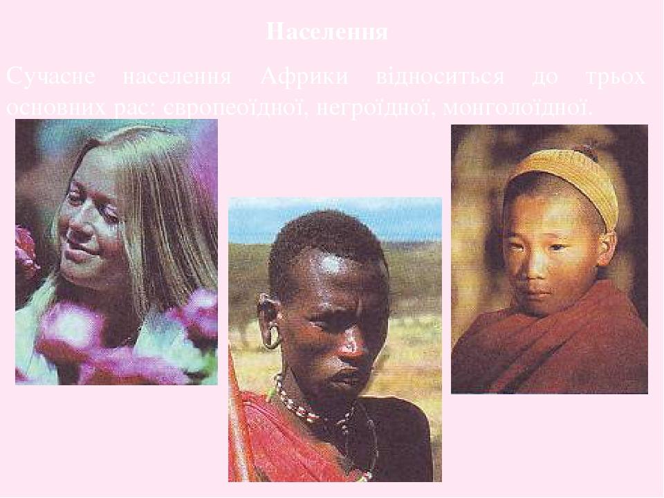 Населення Сучасне населення Африки відноситься до трьох основних рас: європеоїдної, негроїдної, монголоїдної.