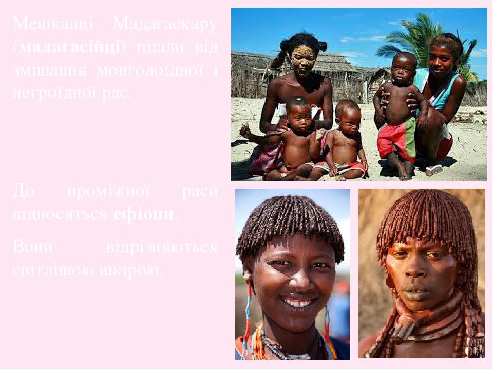Мешканці Мадагаскару (малагасійці) пішли від змішання монголоїдної і негроїдної рас. До проміжної раси відносяться ефіопи. Вони відрізняються світл...