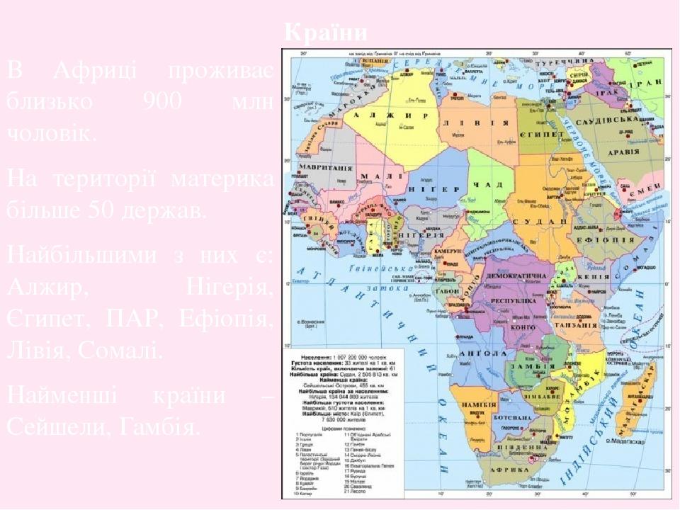 В Африці проживає близько 900 млн чоловік. На території материка більше 50 держав. Найбільшими з них є: Алжир, Нігерія, Єгипет, ПАР, Ефіопія, Лівія...