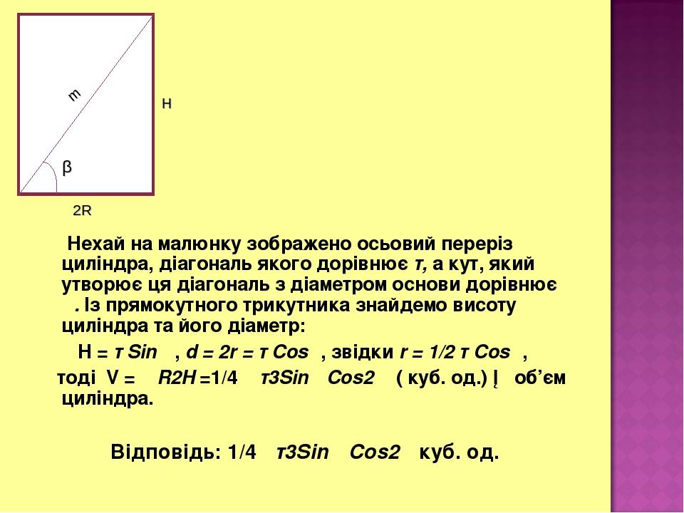 Нехай на малюнку зображено осьовий переріз циліндра, діагональ якого дорівнює т, а кут, який утворює ця діагональ з діаметром основи дорівнює α. Із...