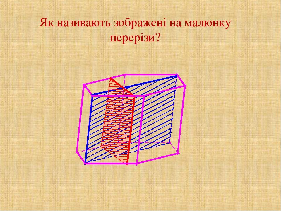 Як називають зображені на малюнку перерізи?