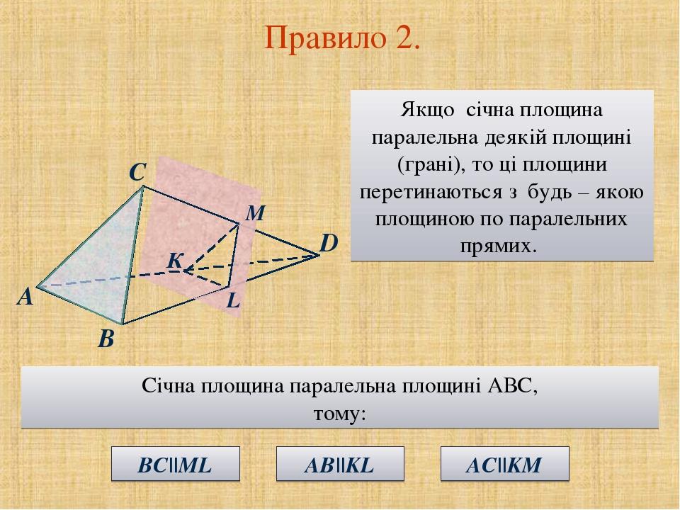 Правило 2. Якщо січна площина паралельна деякій площині (грані), то ці площини перетинаються з будь – якою площиною по паралельних прямих. А С В К ...