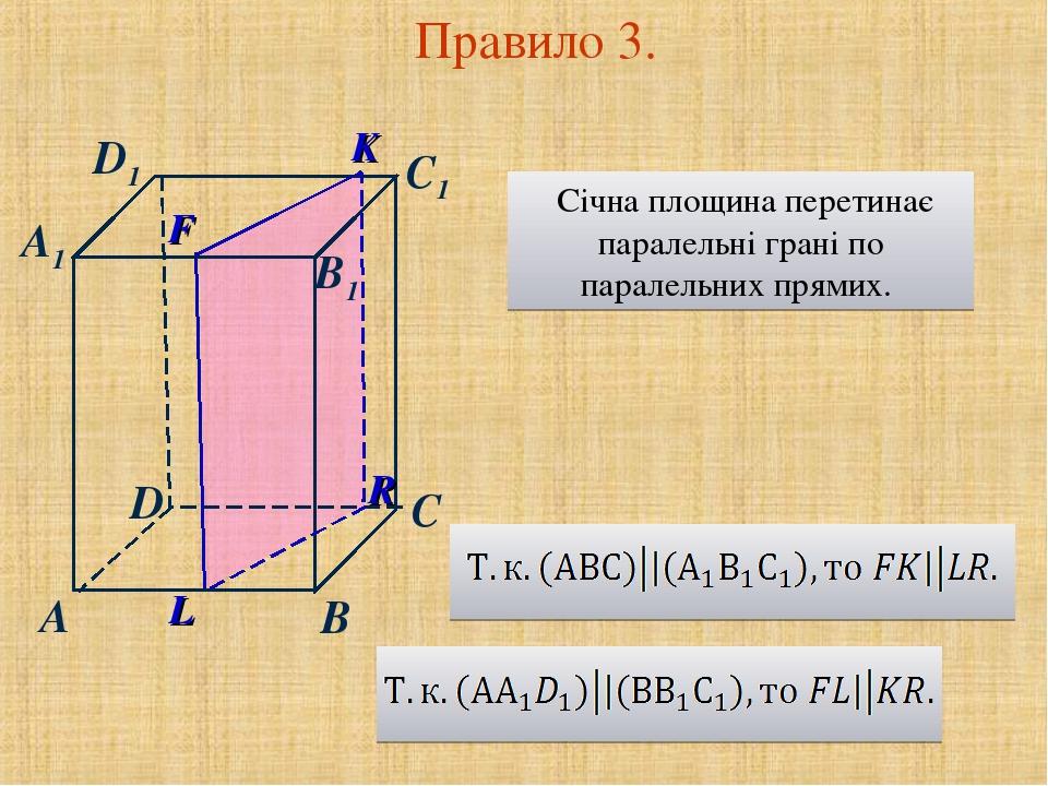 D A C A1 D1 B C1 B1 K F Правило 3. Січна площина перетинає паралельні грані по паралельних прямих.