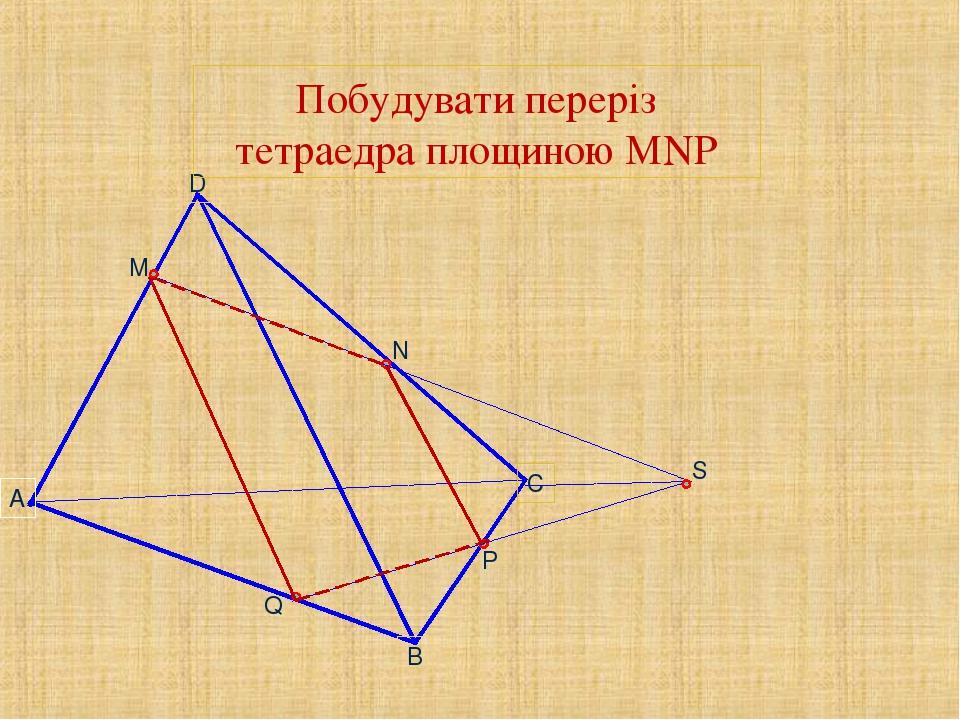 M N P S Q Побудувати переріз тетраедра площиною MNP