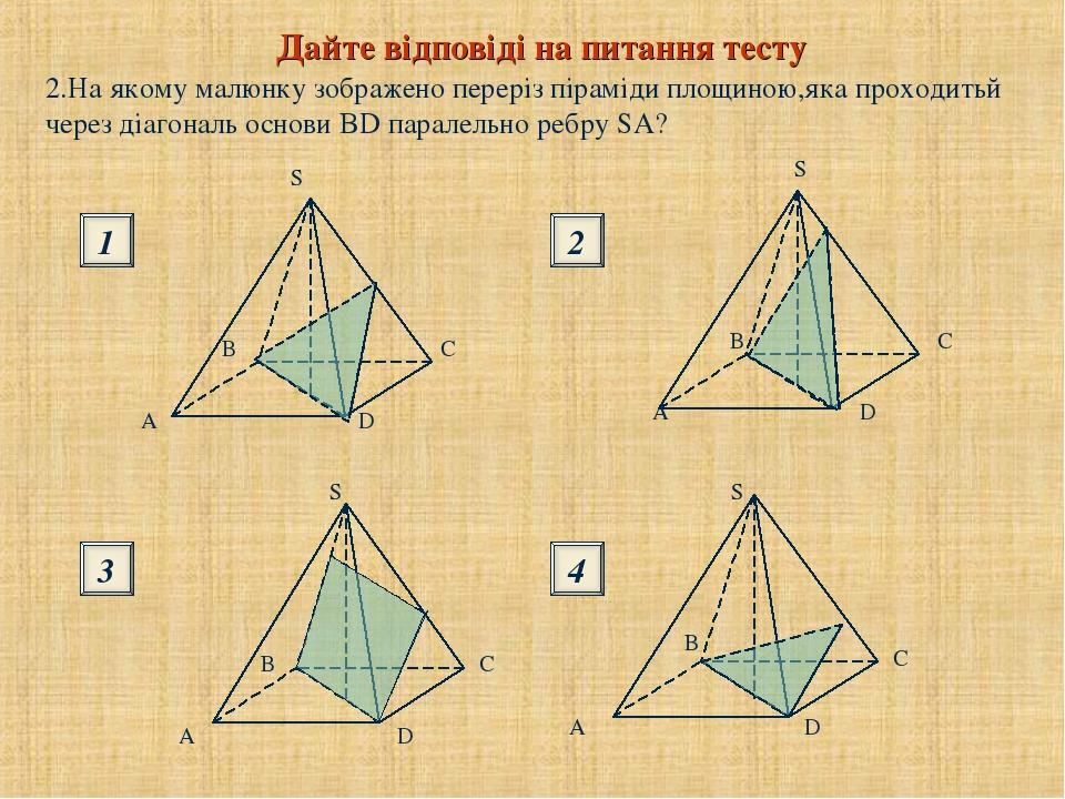 2.На якому малюнку зображено переріз піраміди площиною,яка проходитьй через діагональ основи BD паралельно ребру SA? Дайте відповіді на питання тес...