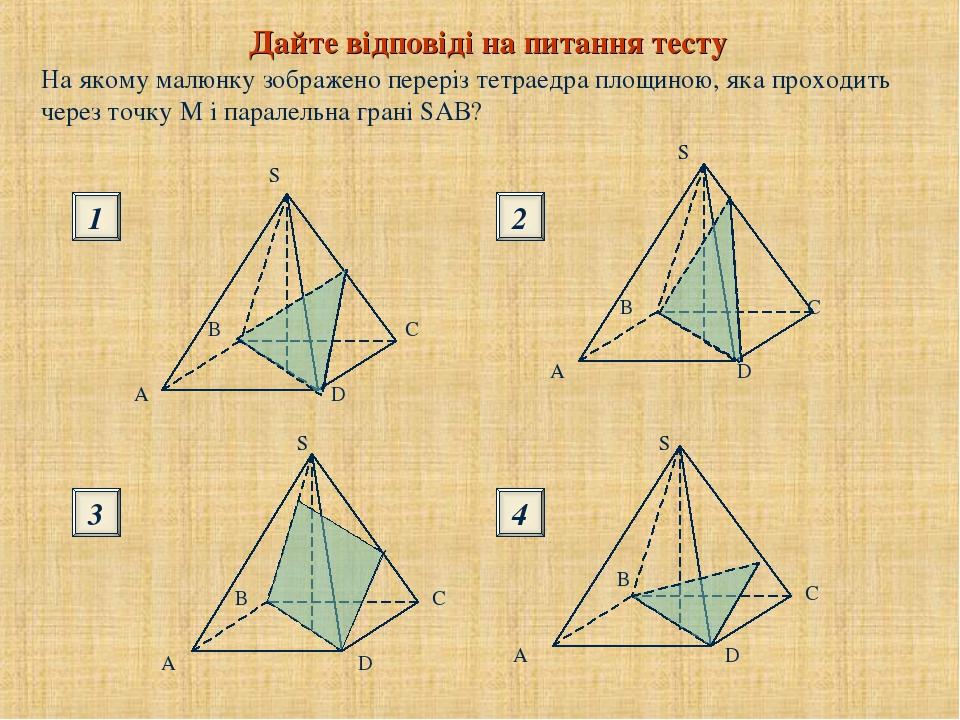 На якому малюнку зображено переріз тетраедра площиною, яка проходить через точку М і паралельна грані SAВ? Дайте відповіді на питання тесту 1 3 2 4
