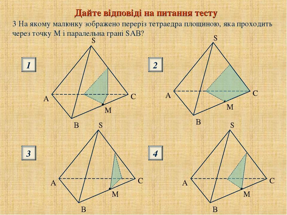 Дайте відповіді на питання тесту 1 3 2 4 S S B B 3 На якому малюнку зображено переріз тетраедра площиною, яка проходить через точку М і паралельна ...