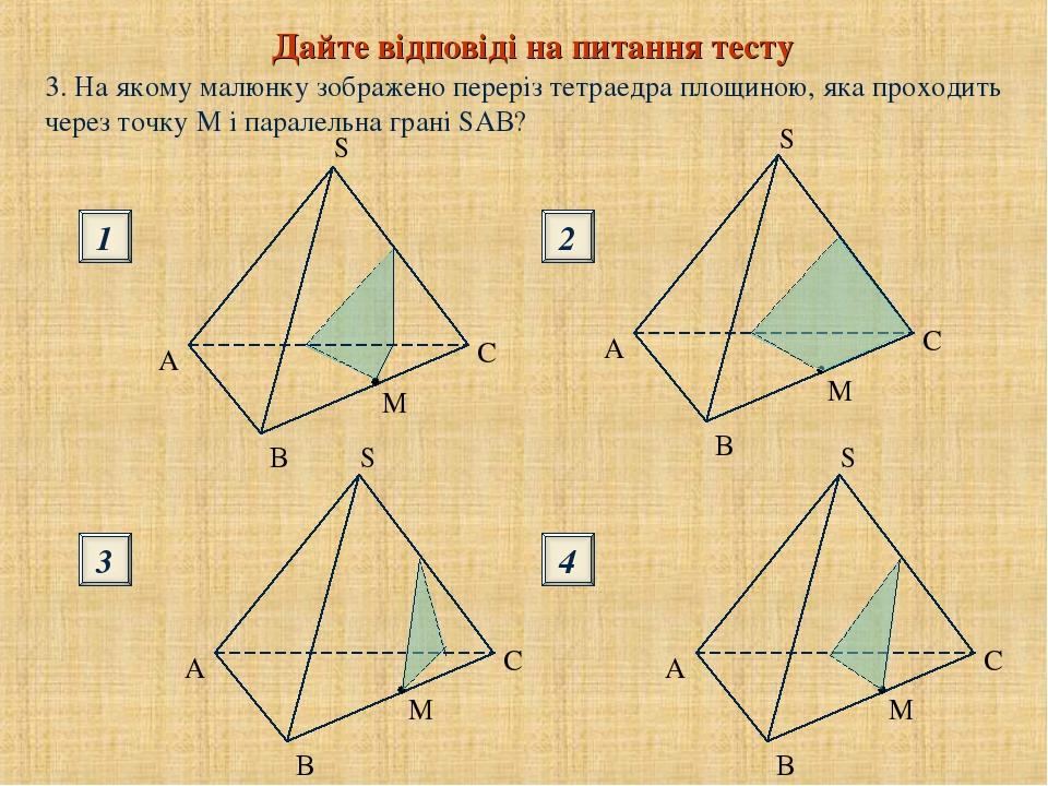 Дайте відповіді на питання тесту 1 3 2 4 S S B B 3. На якому малюнку зображено переріз тетраедра площиною, яка проходить через точку М і паралельна...