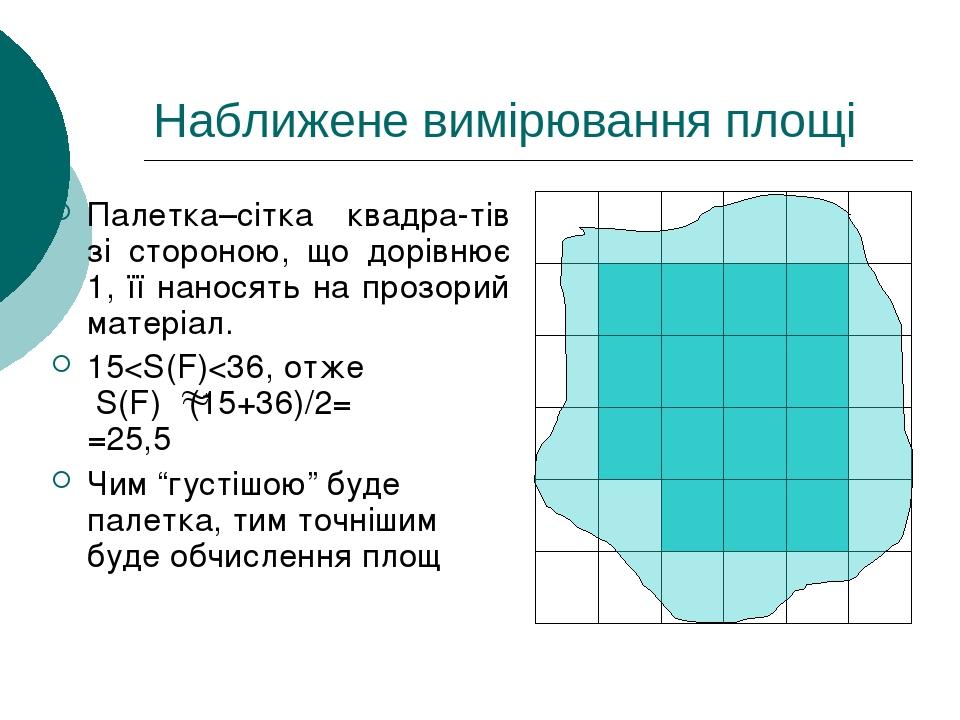 Наближене вимірювання площі Палетка–сітка квадра-тів зі стороною, що дорівнює 1, її наносять на прозорий матеріал. 15<S(F)<36, отже S(F) (15+36)/2=...