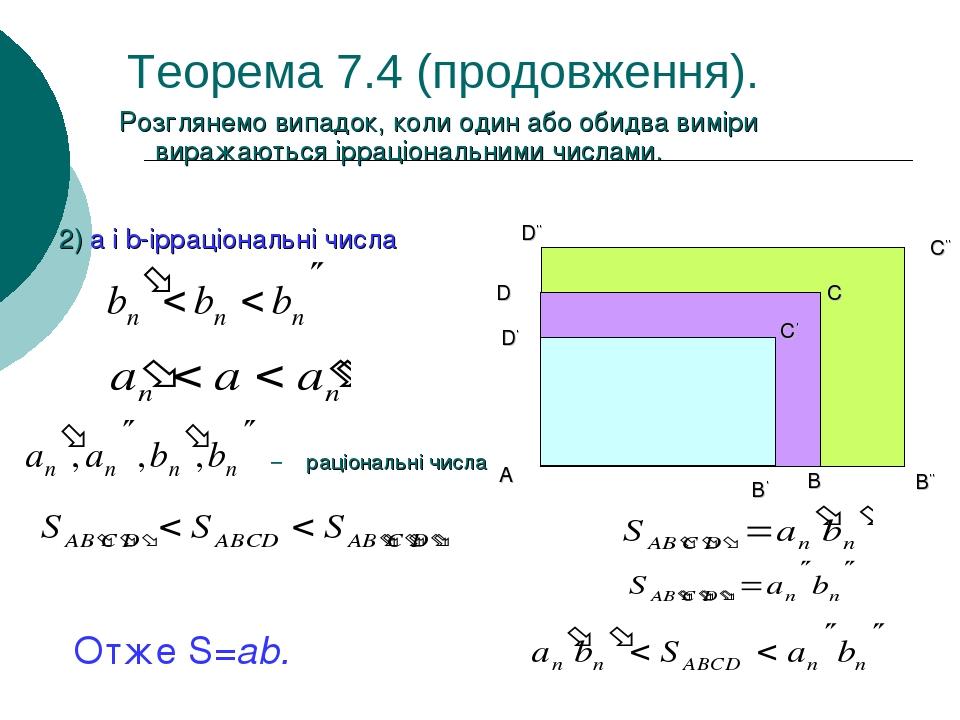 Теорема 7.4 (продовження). Розглянемо випадок, коли один або обидва виміри виражаються ірраціональними числами. 2) a i b-ірраціональні числа Отже S...