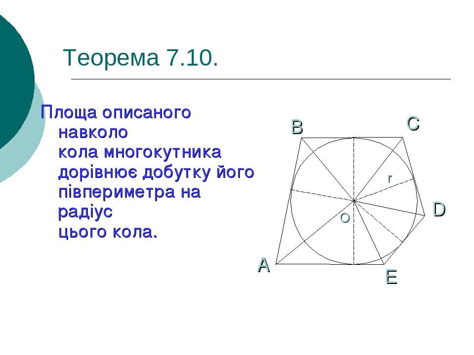 Теорема 7.10. Площа описаного навколо кола многокутника дорівнює добутку його півпериметра на радіус цього кола.