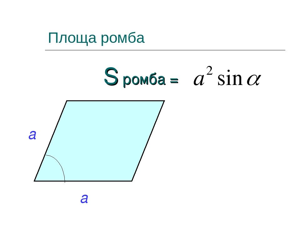 Площа ромба S ромба =
