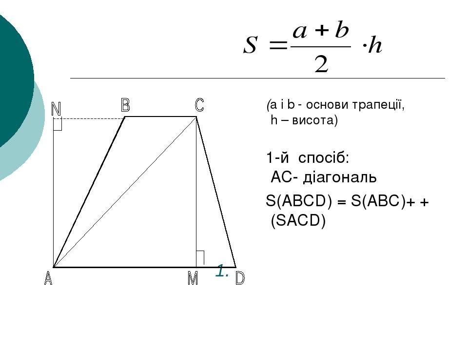 1. (a і b - основи трапеції, h – висота) 1-й спосіб: AC- діагональ S(ABCD) = S(ABC)+ + (SACD)