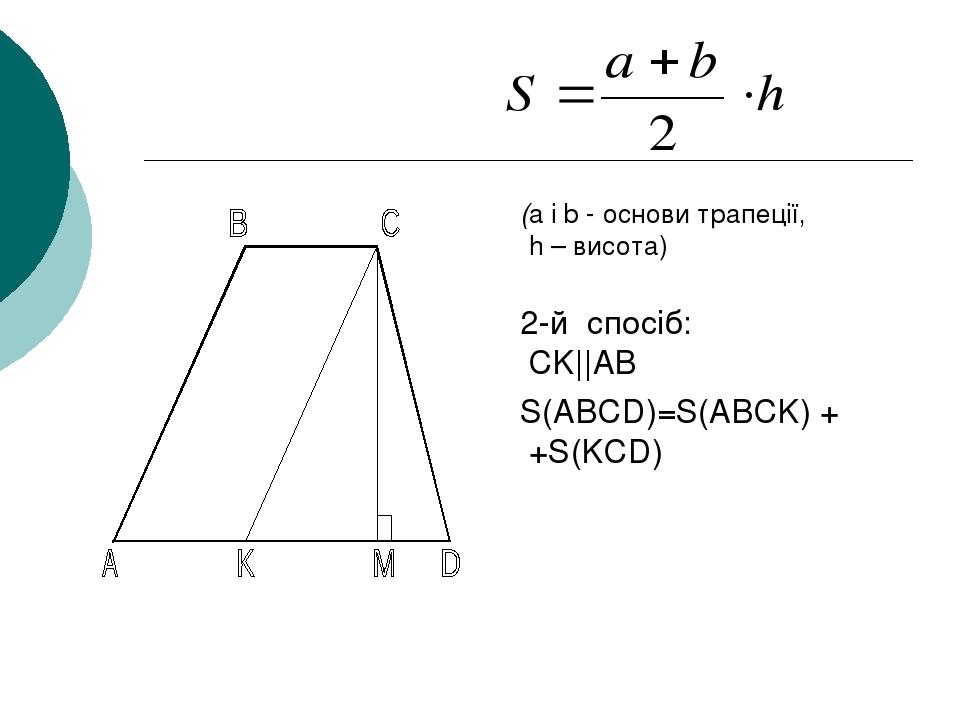 (a і b - основи трапеції, h – висота) 2-й спосіб: CK||AB S(ABCD)=S(ABCK) + +S(KCD)