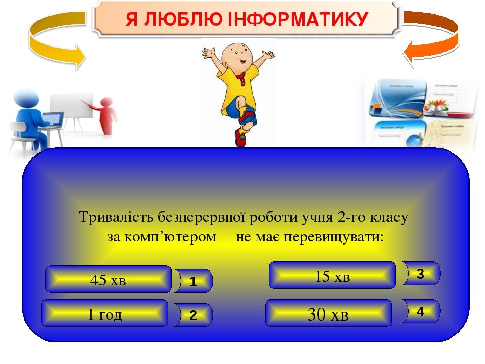 Тривалість безперервної роботи учня 2-го класу за комп'ютером не має перевищувати: 1 год 30 хв 45 хв 15 хв 4 3 2 1