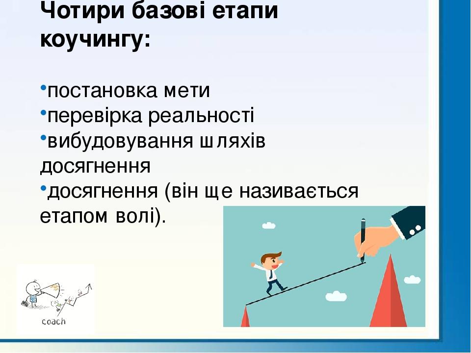 Чотири базові етапи коучингу: постановка мети перевірка реальності вибудовування шляхів досягнення досягнення (він ще називається етапом волі).