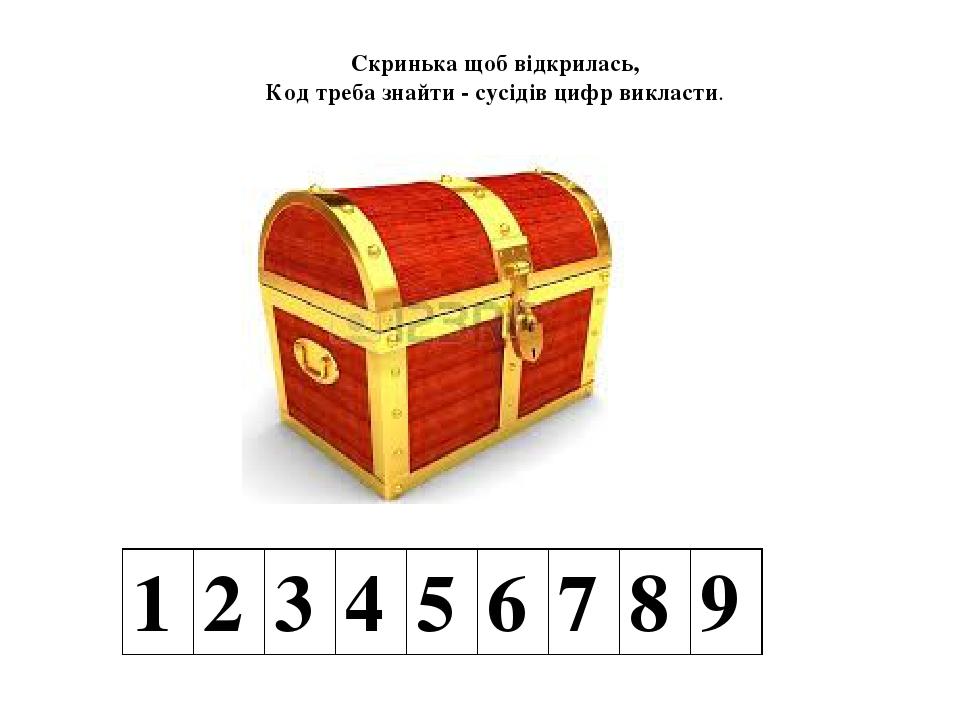 Скринька щоб відкрилась, Код треба знайти - сусідів цифр викласти. 1 2 3 4 5 6 7 8 9