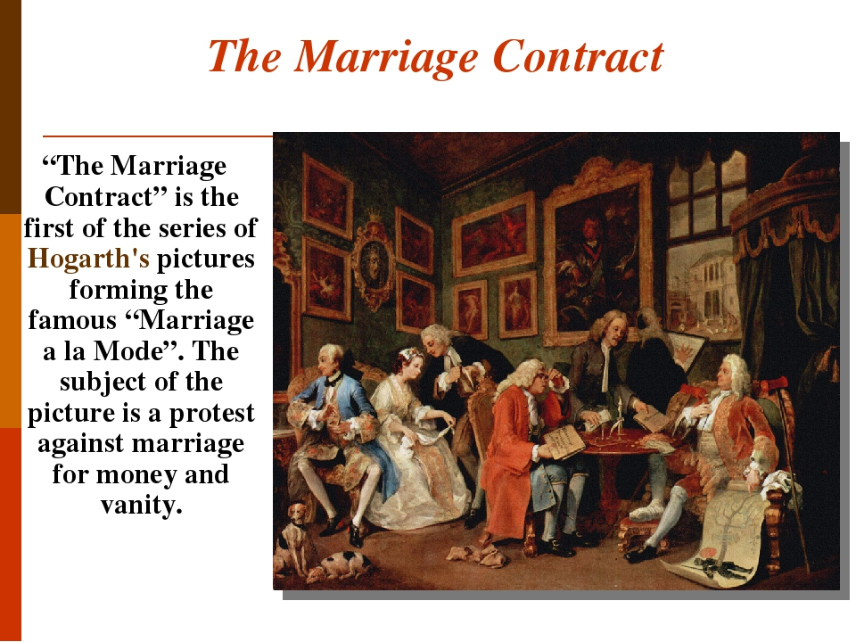 """The Marriage Contract """"The Marriage Contract"""" is the first of the series of Hogarth's pictures forming the famous """"Marriage a la Mode"""". The subject..."""