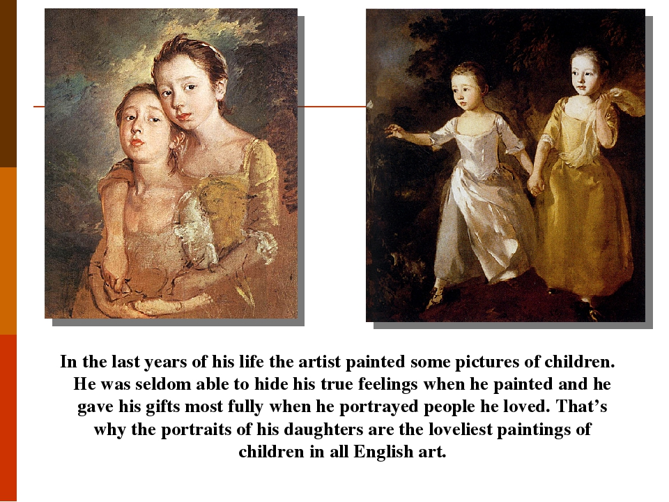 In the last years of his life the artist painted some pictures of children. He was seldom able to hide his true feelings when he painted and he gav...