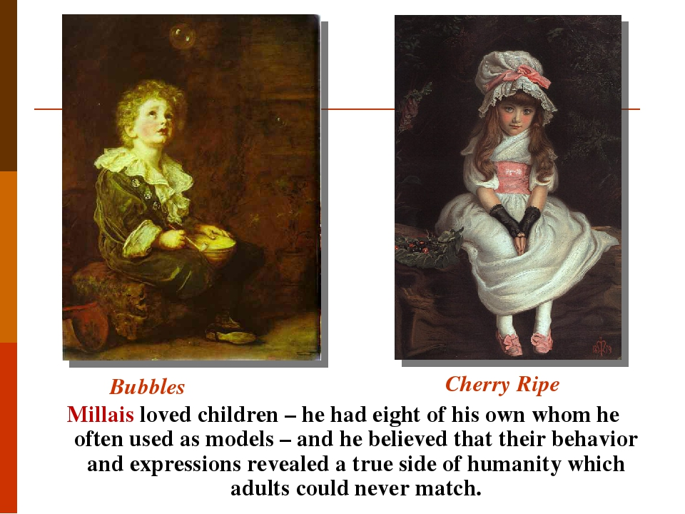 Bubbles Millais loved children – he had eight of his own whom he often used as models – and he believed that their behavior and expressions reveale...