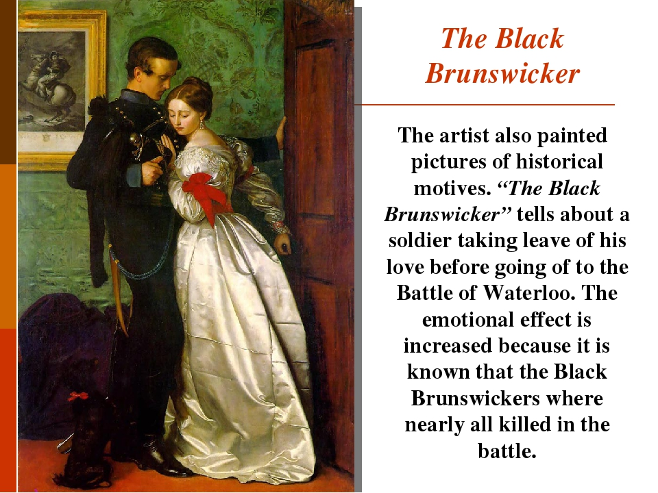 """The Black Brunswicker The artist also painted pictures of historical motives. """"The Black Brunswicker"""" tells about a soldier taking leave of his lov..."""