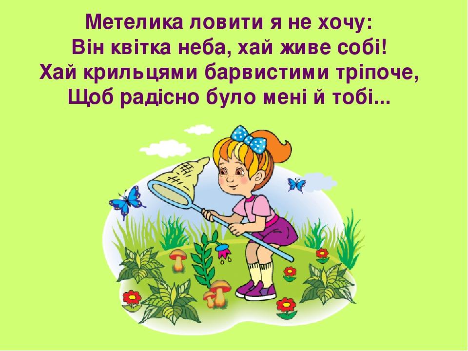Метелика ловити я не хочу: Він квітка неба, хай живе собі! Хай крильцями барвистими тріпоче, Щоб радісно було мені й тобі...