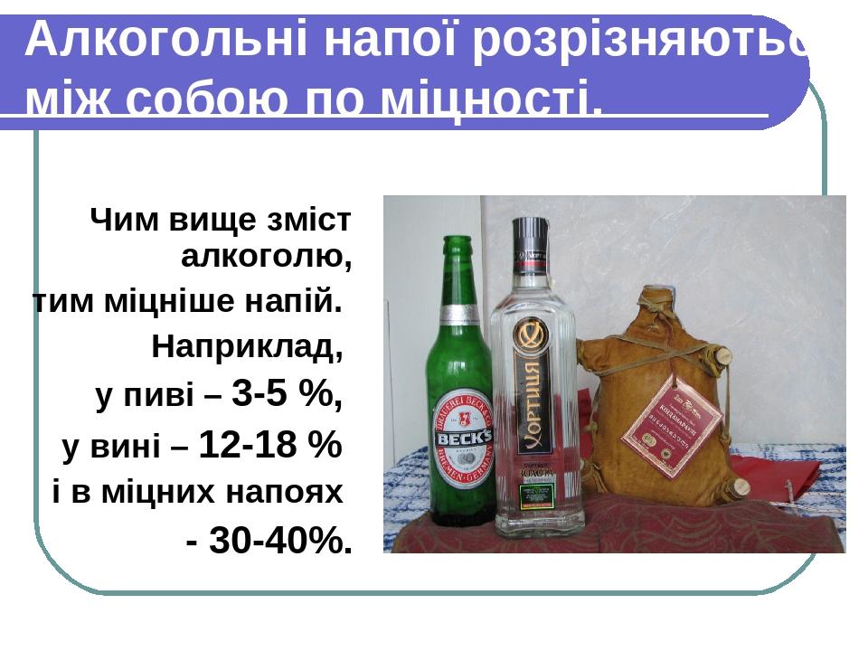 Алкогольні напої розрізняються між собою по міцності. Чим вище зміст алкоголю, тим міцніше напій. Наприклад, у пиві – 3-5 %, у вині – 12-18 % і в м...