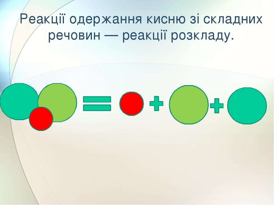 Реакції одержання кисню зі складних речовин — реакції розкладу.