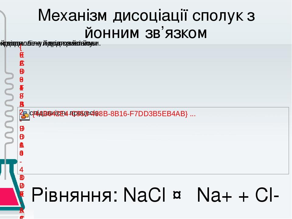 Механізм дисоціації сполук з йонним зв'язком Рівняння: NaCl ↔ Na+ + Cl-