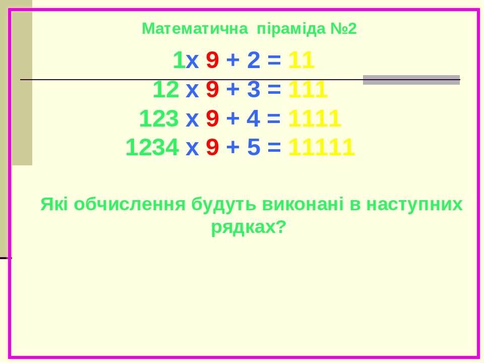 1x 9 + 2 = 11 12 x 9 + 3 = 111 123 x 9 + 4 = 1111 1234 x 9 + 5 = 11111 12345 x 9 + 6 = 111111 123456 x 9 + 7 = 1111111 1234567 x 9 + 8 = 11111111 1...