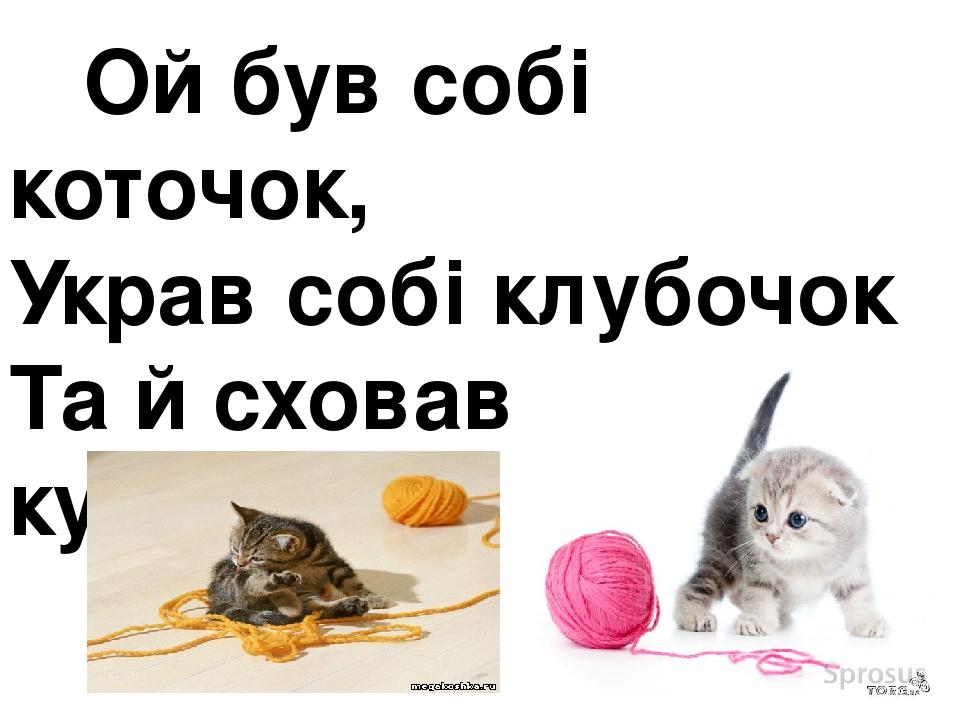 Ой був собі коточок, Украв собі клубочок Та й сховався в куточок.