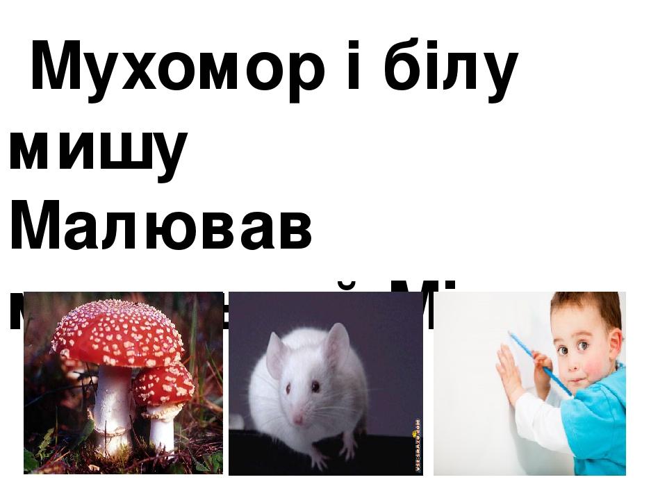Мухомор і білу мишу Малював маленький Міша.