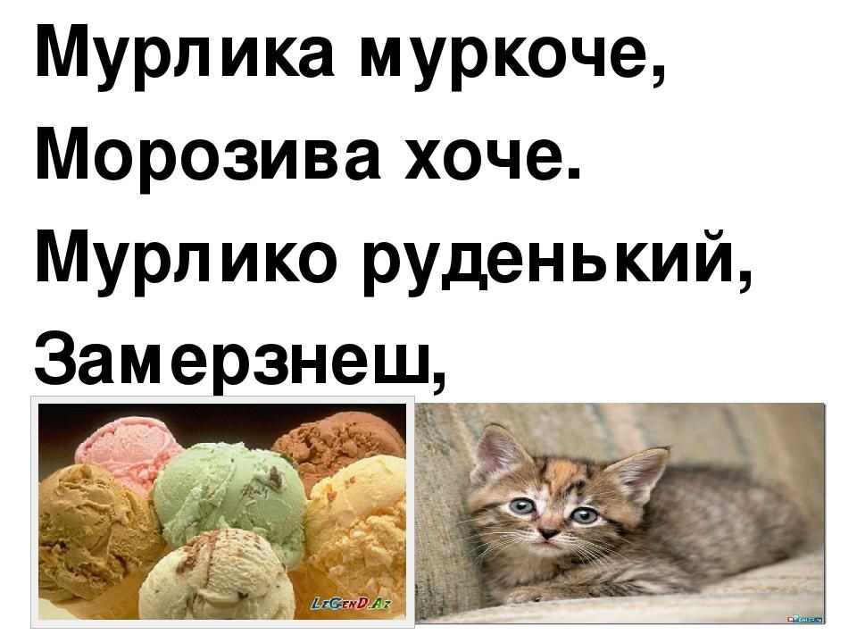 Мурлика муркоче, Морозива хоче. Мурлико руденький, Замерзнеш, маленький.