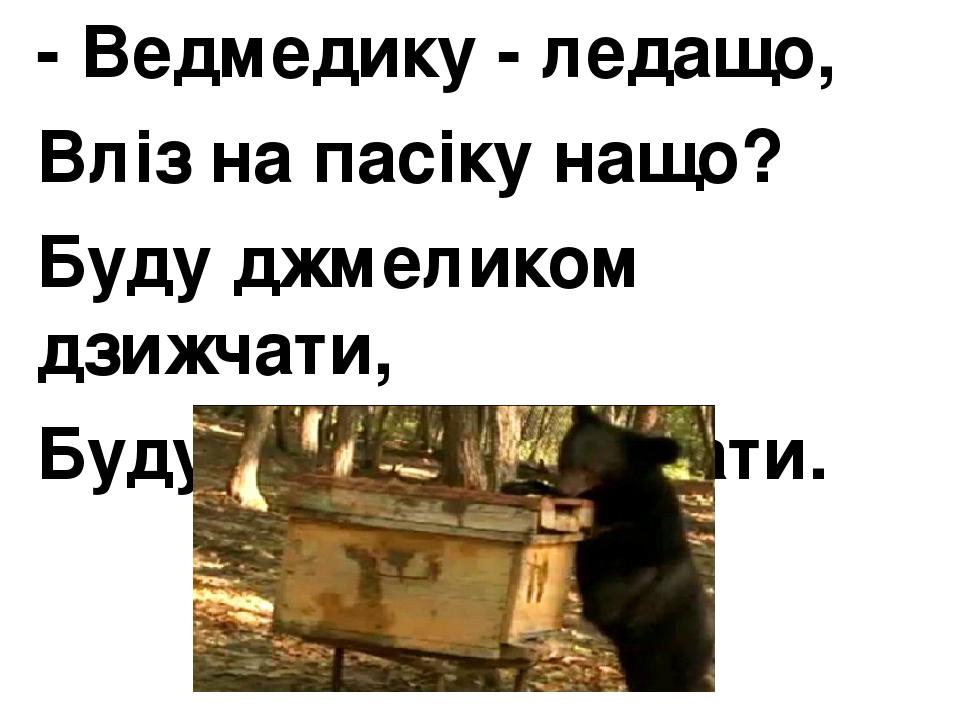 - Ведмедику - ледащо, Вліз на пасіку нащо? Буду джмеликом дзижчати, Буду меду куштувати.